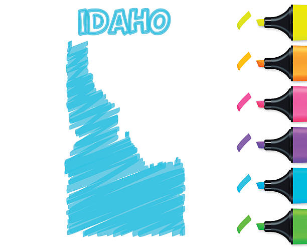 Idaho map hand drawn on white background, blue highlighter vector art illustration