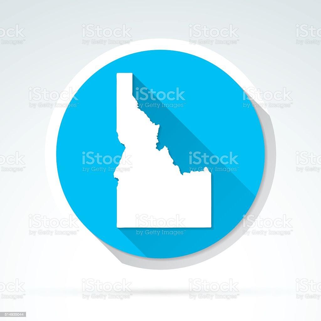 Idaho map icon, Flat Design, Long Shadow vector art illustration