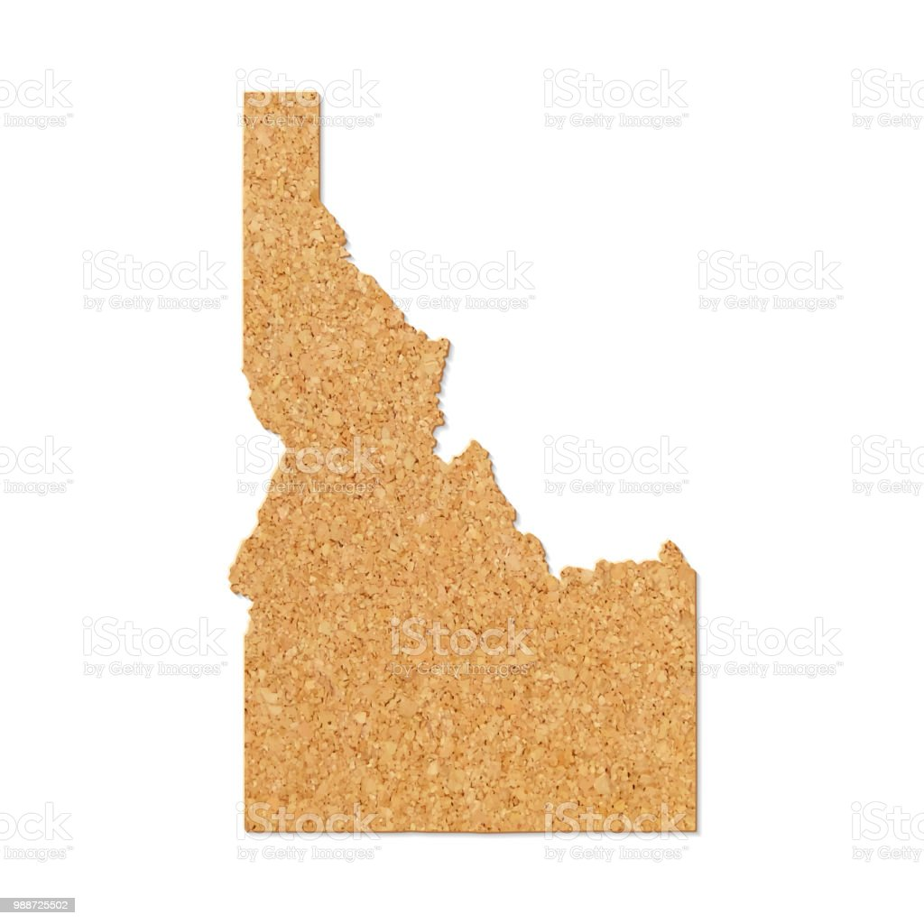 Idaho map in cork board texture on white background vector art illustration