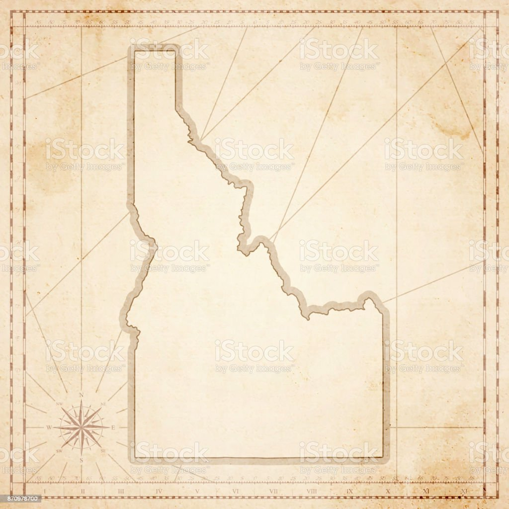 Idaho map in retro vintage style - old textured paper vector art illustration
