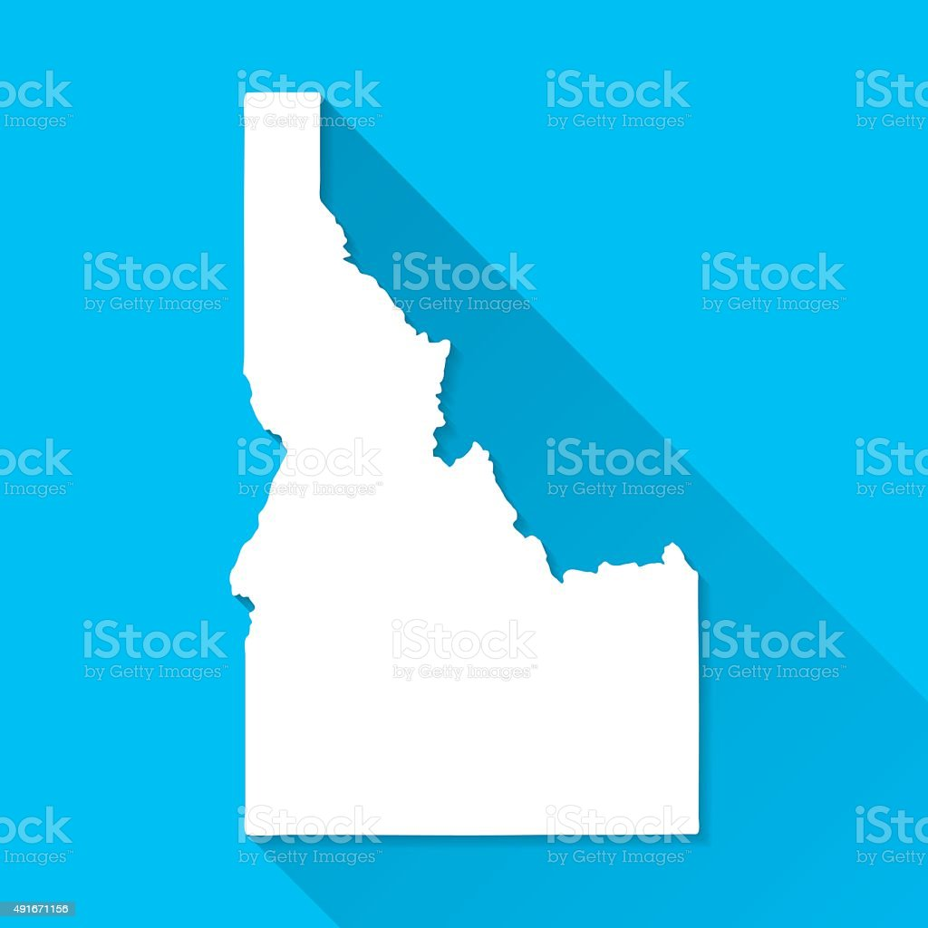 Idaho Map on Blue Background, Long Shadow, Flat Design vector art illustration