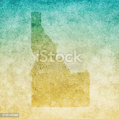 Map of Idaho isolated on realistic grunge canvas texture.