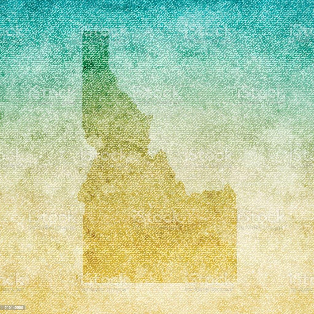 Idaho Map on grunge Canvas Background vector art illustration