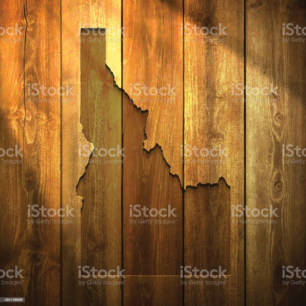 Idaho Map on lit Wooden Background vector art illustration