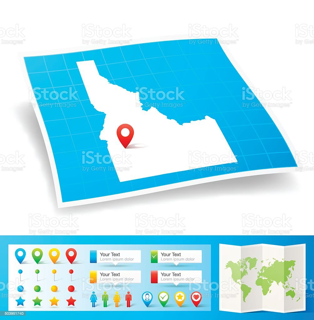 Idaho Map with location pins isolated on white Background vector art illustration