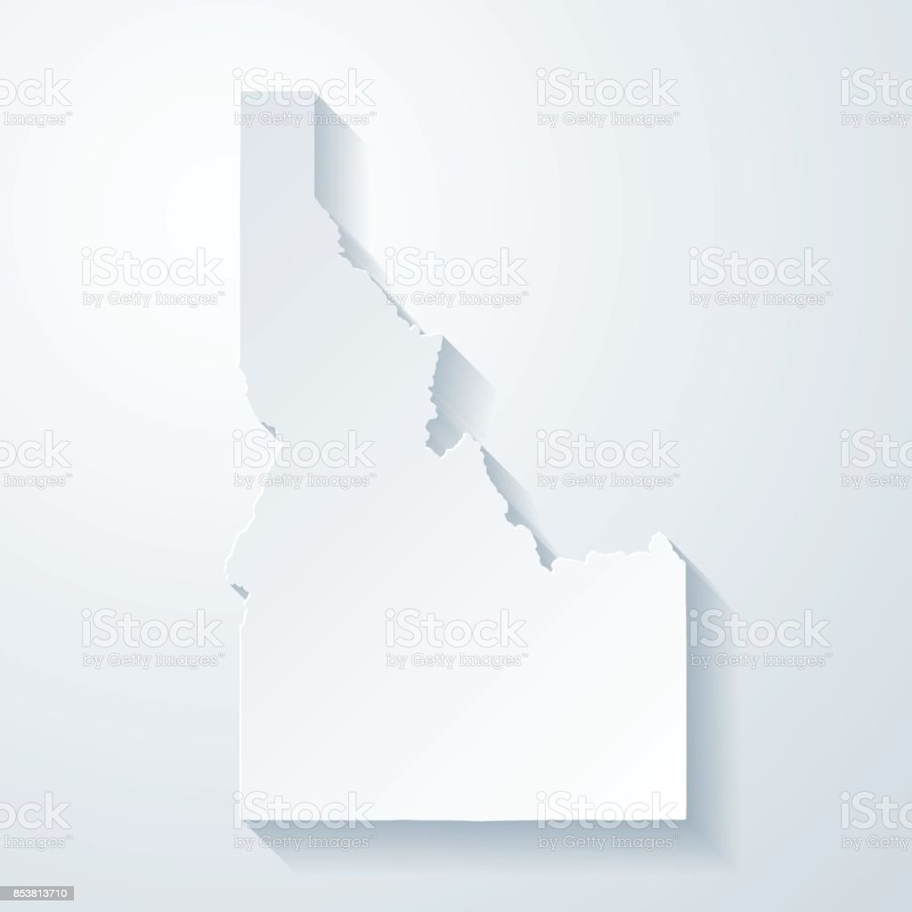 Idaho map with paper cut effect on blank background vector art illustration