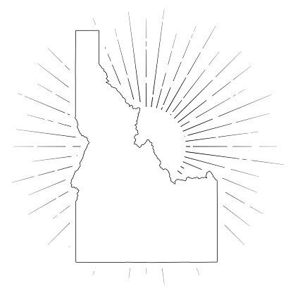 Map of Idaho created with a thin black outline and  light rays. Trendy and modern illustraion isolated on a blank background. Vector Illustration (EPS10, well layered and grouped). Easy to edit, manipulate, resize or colorize.