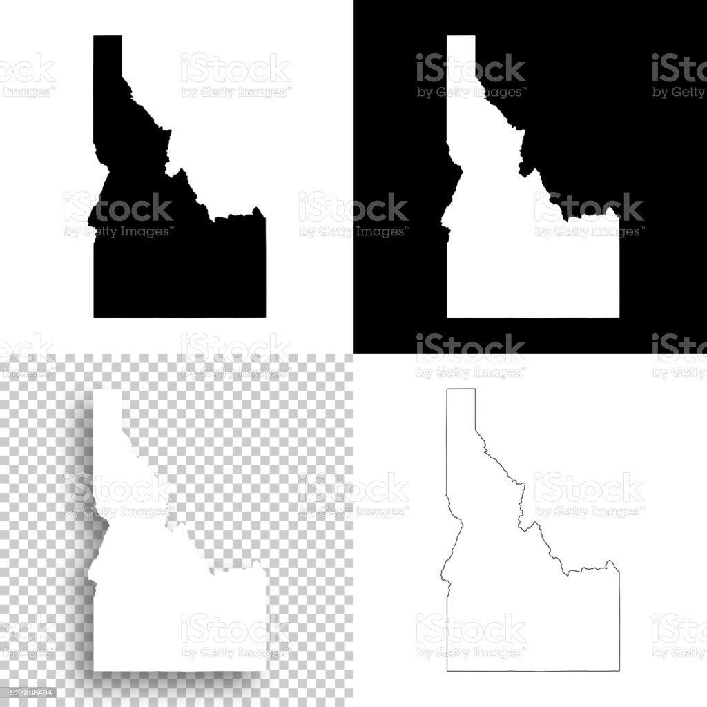 Idaho maps for design - Blank, white and black backgrounds vector art illustration