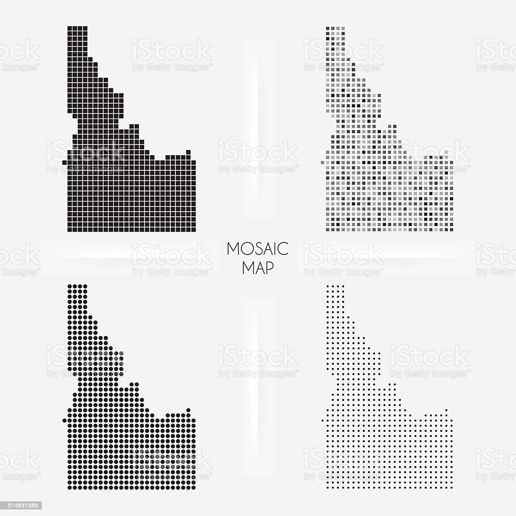 Idaho maps - Mosaic squarred and dotted vector art illustration