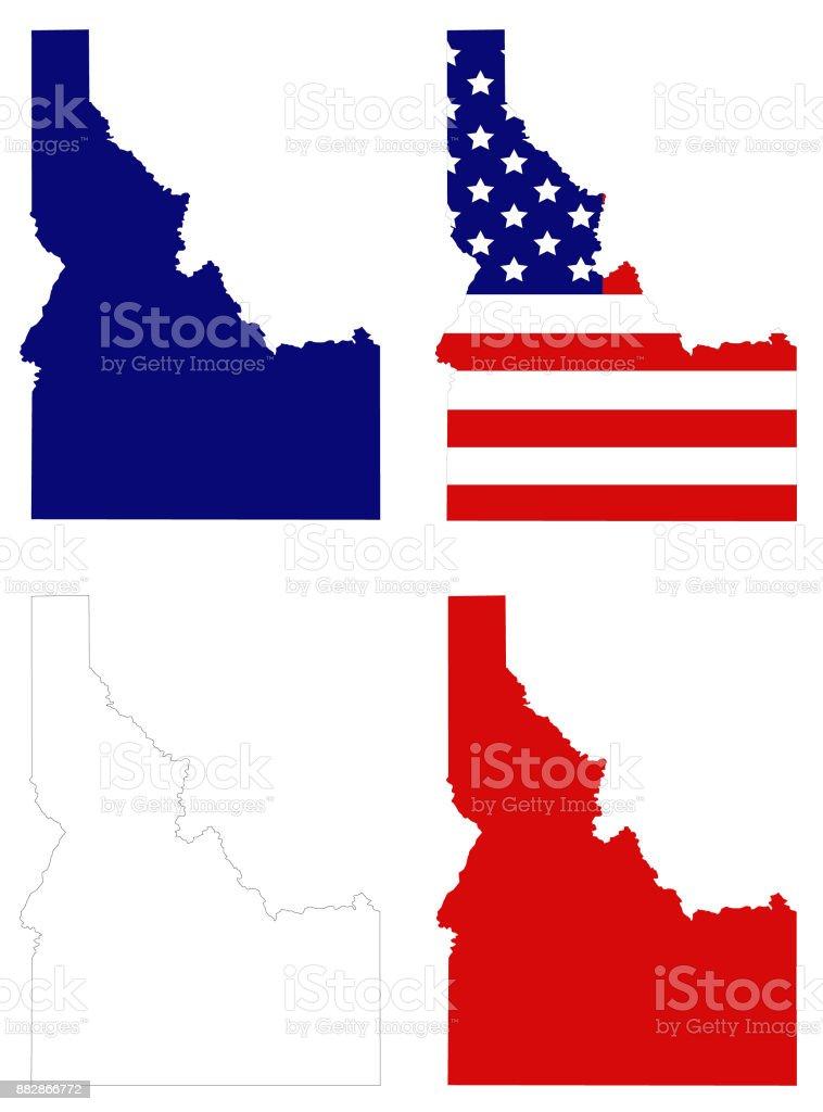 Idaho maps vector art illustration