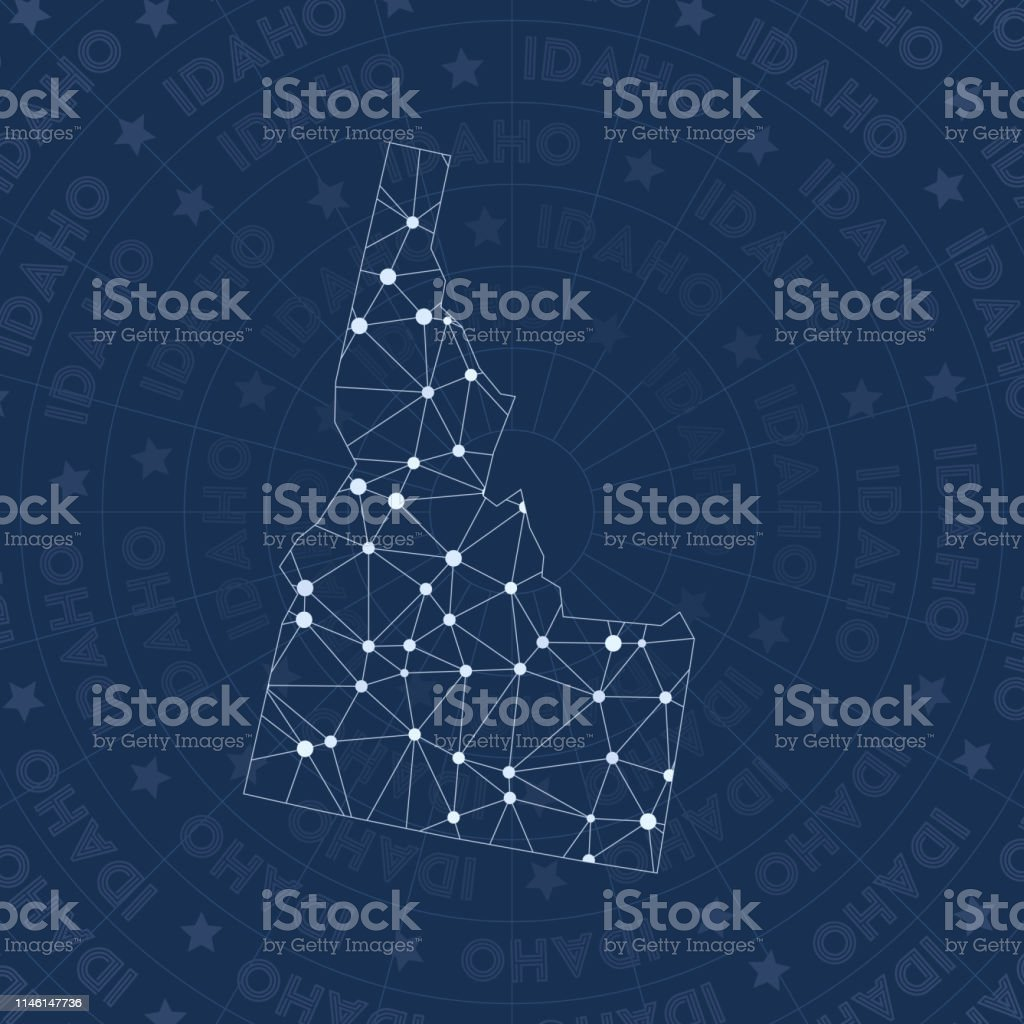 Idaho Network Constellation Style Us State Map Stock