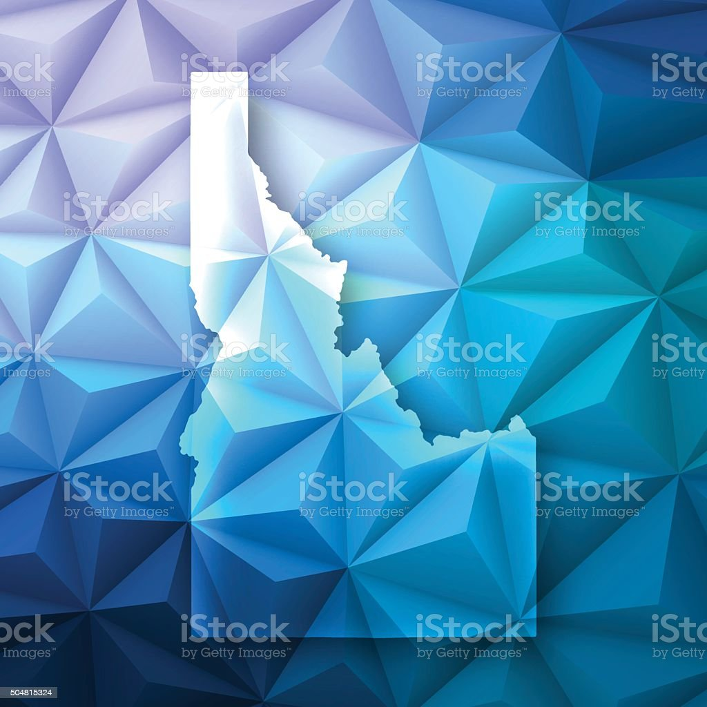 Idaho on Abstract Polygonal Background - Low Poly, Geometric vector art illustration