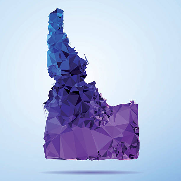 Idaho Polygon Triangle Map Blue Abstract Polygon Triangle vector map of Idaho, USA. File was created in DMesh Pro and Adobe Illustrator on July 10, 2015. The colors in the .eps-file are in RGB. Transparencies used. Included files are EPS (v10) and Hi-Res JPG (5035 x 5035 px). map crystal stock illustrations