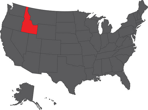 Abstract Outline Of Idaho Map Clip Art Vector Images - Idaho on map of usa