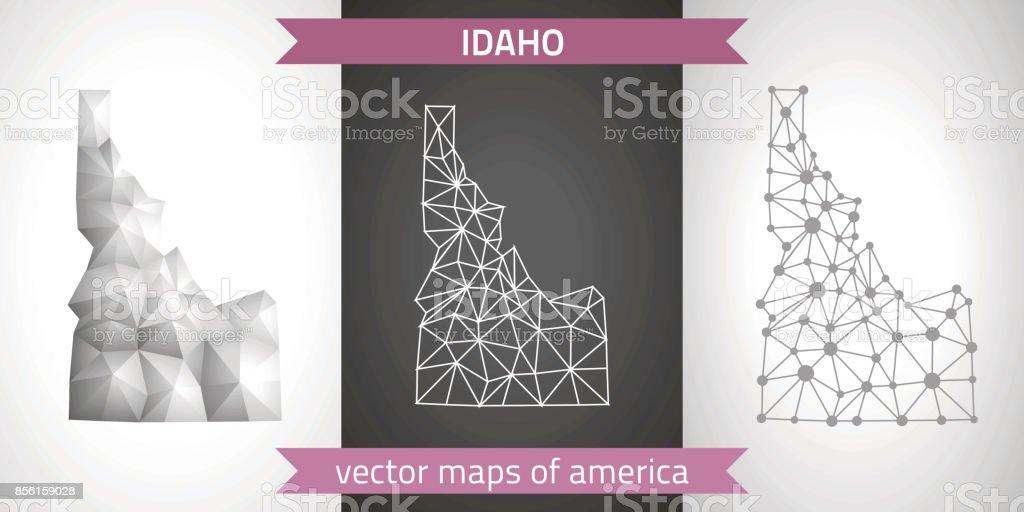 Idaho set of vector graphic modern polygonal maps vector art illustration
