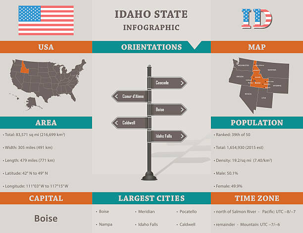 USA - Idaho state infographic template vector art illustration