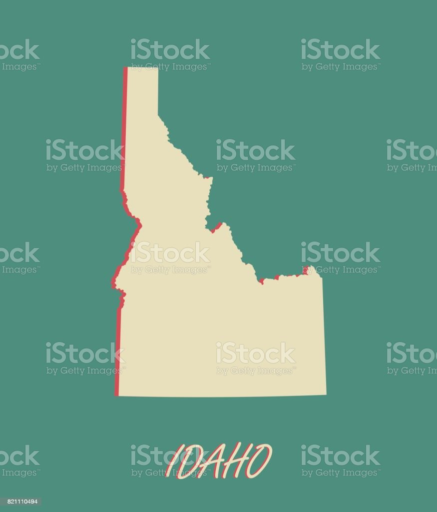 Idaho State Of Usa Map Vector Outlines In A D Illustration - Idaho on the us map