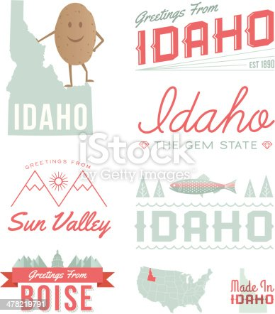 A set of vintage-style icons and typography representing the state of Idaho, including Sun Valley and Boise. Each items is on a separate layer. Includes a layered Photoshop document. Ideal for both print and web elements. Also includes the Idaho map with text without the potato.