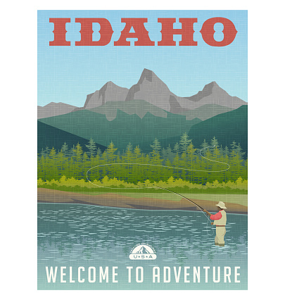 Idaho, United States travel poster or sticker. Fly fishing in mountain stream. Vector illustration.