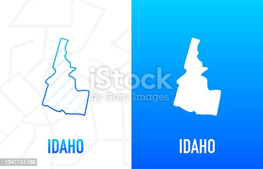 istock Idaho - U.S. state. Contour line in white and blue color on two face background. Map of The United States of America. Vector illustration. 1347741786