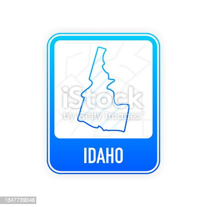 istock Idaho - U.S. state. Contour line in white color on blue sign. Map of The United States of America. Vector illustration. 1347739046