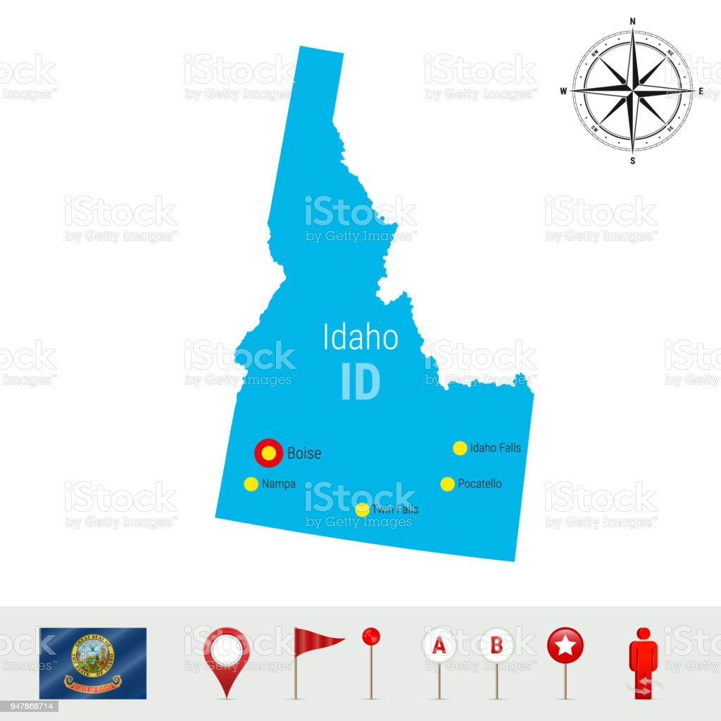 Idaho Vector Map Isolated on White Background. High Detailed Silhouette of Idaho State. Official Flag of Idaho vector art illustration