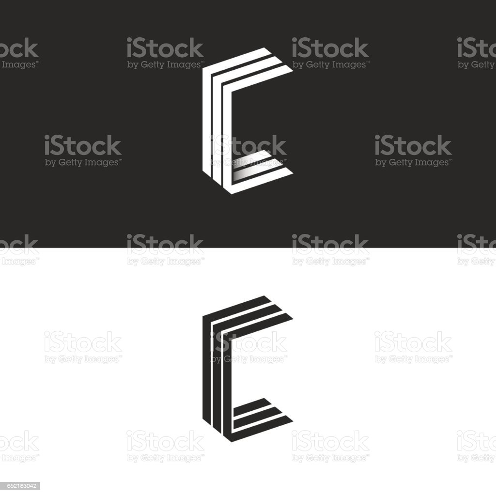 Idea 3D logo C letter isometric monogram, group initials CCC black and white simple emblem, parallel lines geometric shape vector art illustration