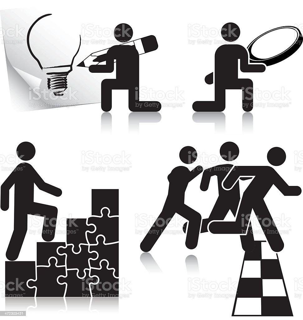 Idea. Analysis. Action. Win. vector art illustration