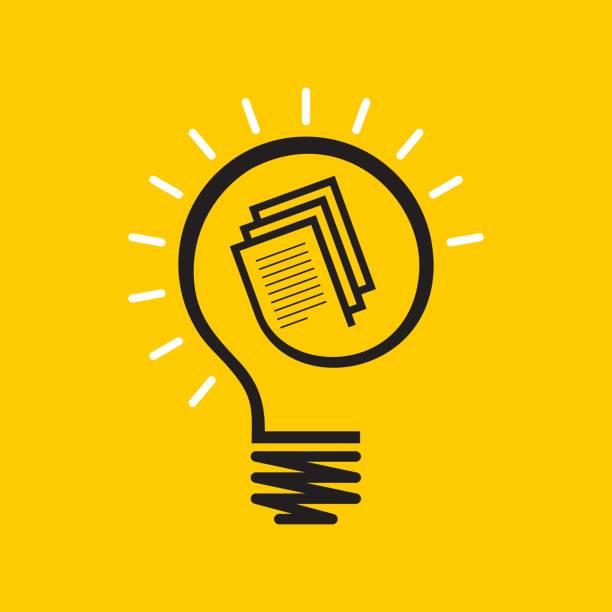 Idea and knowledge concept design Light bulb on book vector art illustration