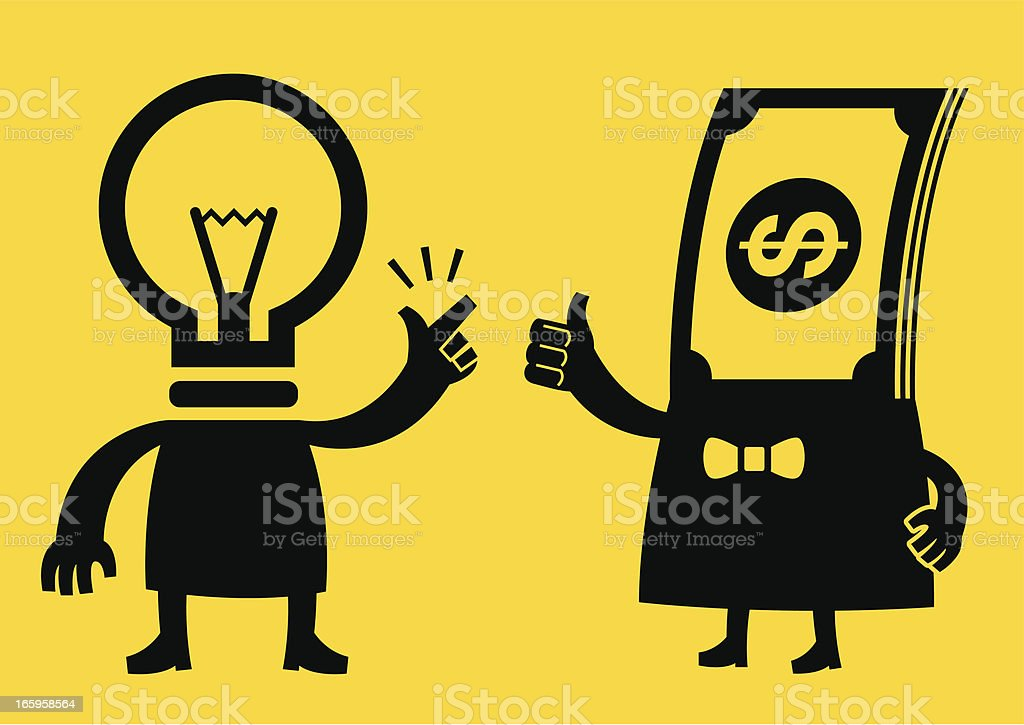 Idea and Money | Yellow Business Concept royalty-free stock vector art