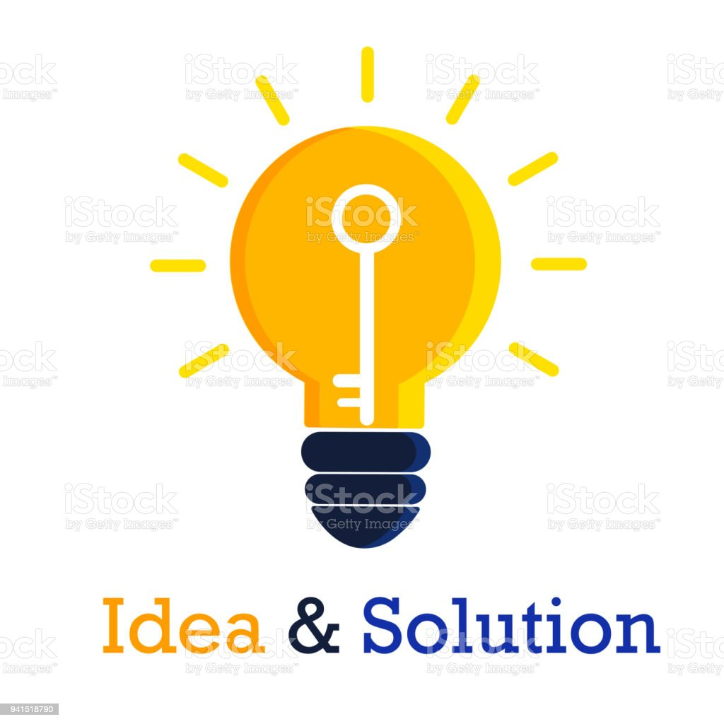 Idees And Solutions: Idea And Solution Icon Design On White Background Stock