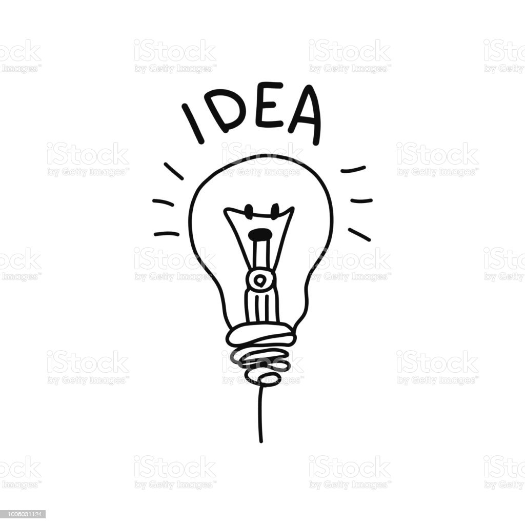Ilustração De Ideia Preto E Branco Lâmpada De Iluminação Acho Que