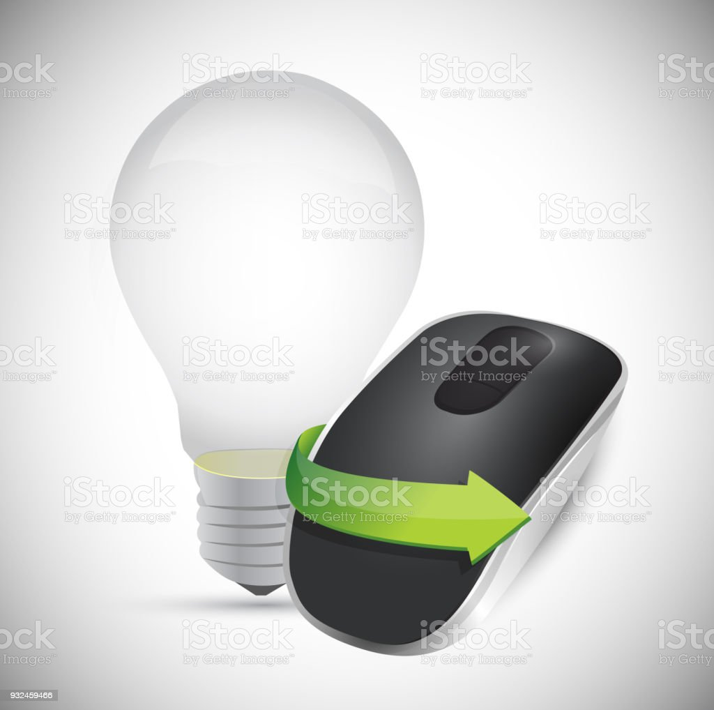 art lighting wireless. Idea Bulb And Wireless Computer Mouse Isolated On White Background Royalty-free Art Lighting L