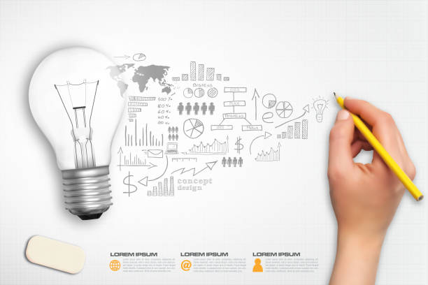 idea bulb hand sketch concept infographic vector - conceptual infographics stock illustrations, clip art, cartoons, & icons