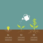 Idea bulb, watering can, dollar plant infographic. Financial growth. Flat