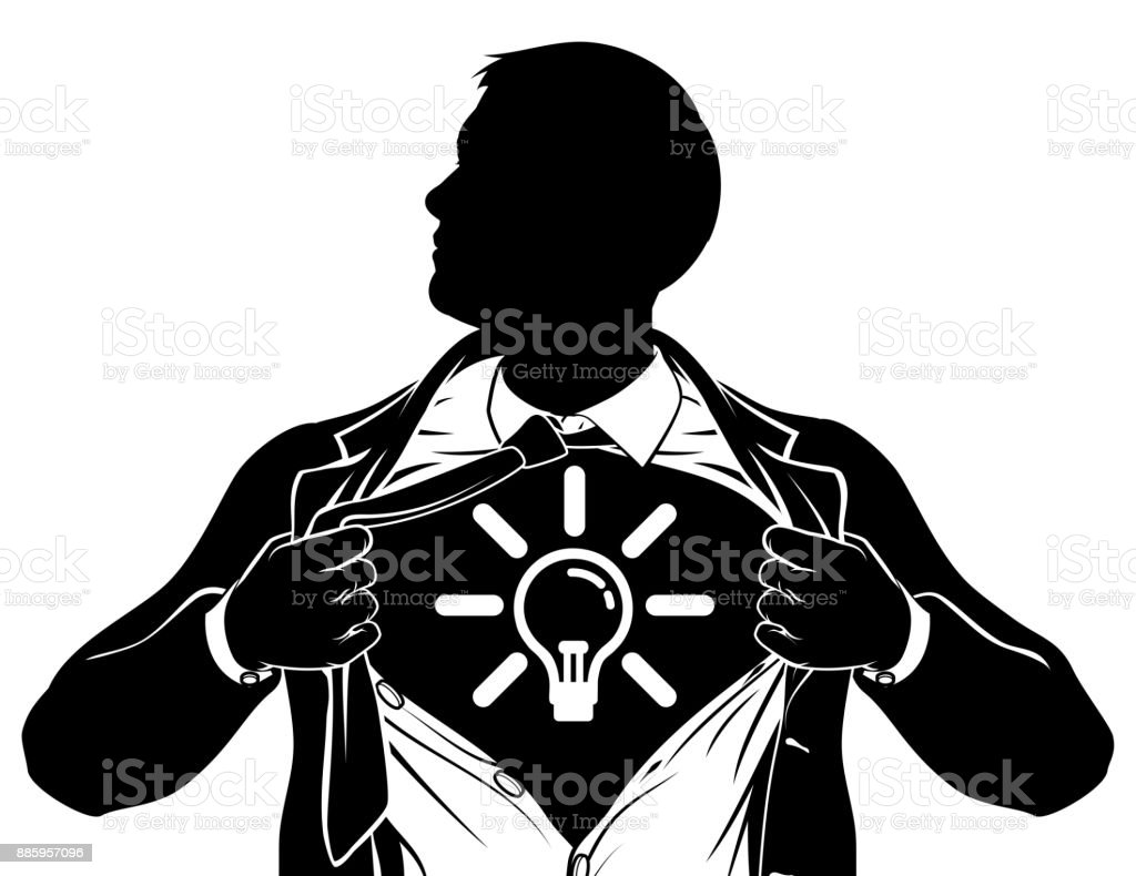 Idée Business Man super-héros déchirer la poitrine de la chemise - Illustration vectorielle