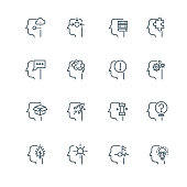 Idea, business strategy and management line thin vector icons