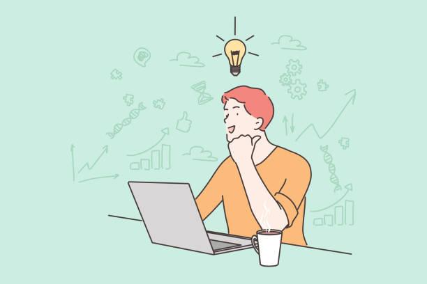 stockillustraties, clipart, cartoons en iconen met idee, zaken, werk, freelance, succes, gedachte, probleem, bedrijfsconcept. - alleen één jonge man