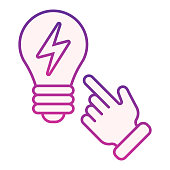 Idea concept flat icon. Light bulb and hand violet icons in trendy flat style. Solution gradient style design, designed for web and app. Eps 10