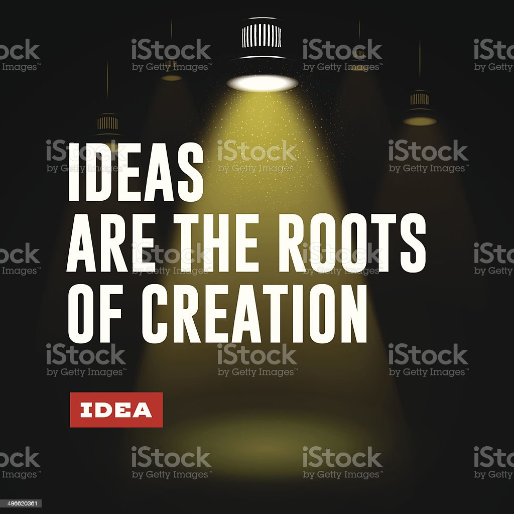 Idea concept. Ideas are the roots of creation. vector art illustration