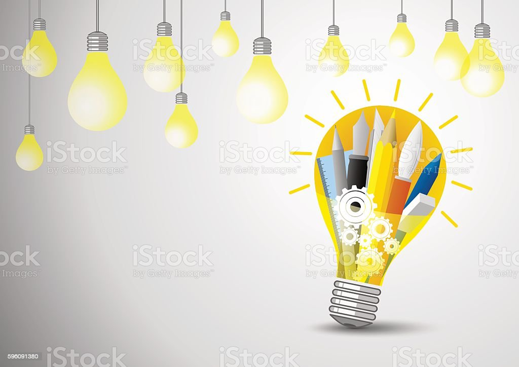 Idea concept of vector stationery in the lightblub royalty-free idea concept of vector stationery in the lightblub stock vector art & more images of bright