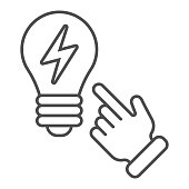 istock Idea concept thin line icon. Light bulb and hand vector illustration isolated on white. Solution outline style design, designed for web and app. Eps 10. 1209508647