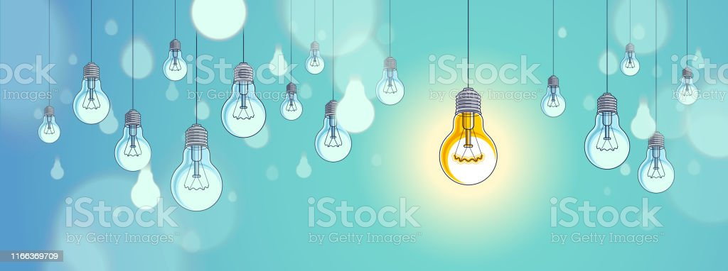 Idea concept, think different, light bulbs group vector illustration...