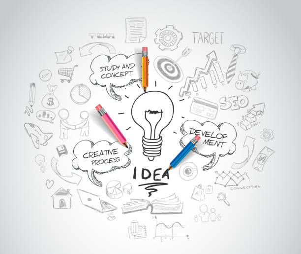 idea concept with light bulb and doodle sketches idea concept with light bulb and doodle sketches infographic icons. brainstorming stock illustrations
