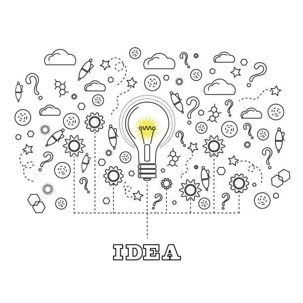 Idea Concept with Light Bulb vector art illustration