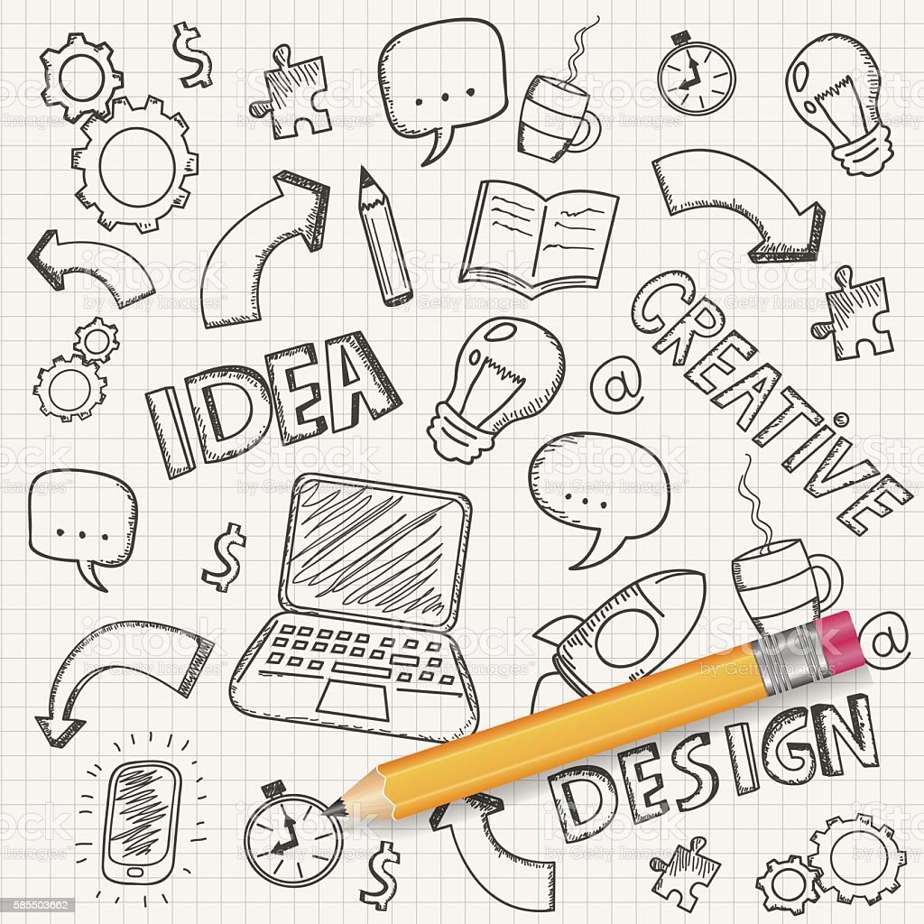 Idea concept with pencil and doodle sketches. Business doodles set. vector art illustration