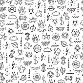 Idea Concept with Various Items Vector Seamless Pattern. Hand drawn doodle Random objects Background