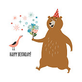 idea for birthday card design, Bear with bouquet and little Bird on white background, greeting card