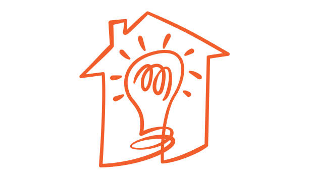 Idea for home logo, light bulb in the house, hand drawn icon vector art illustration