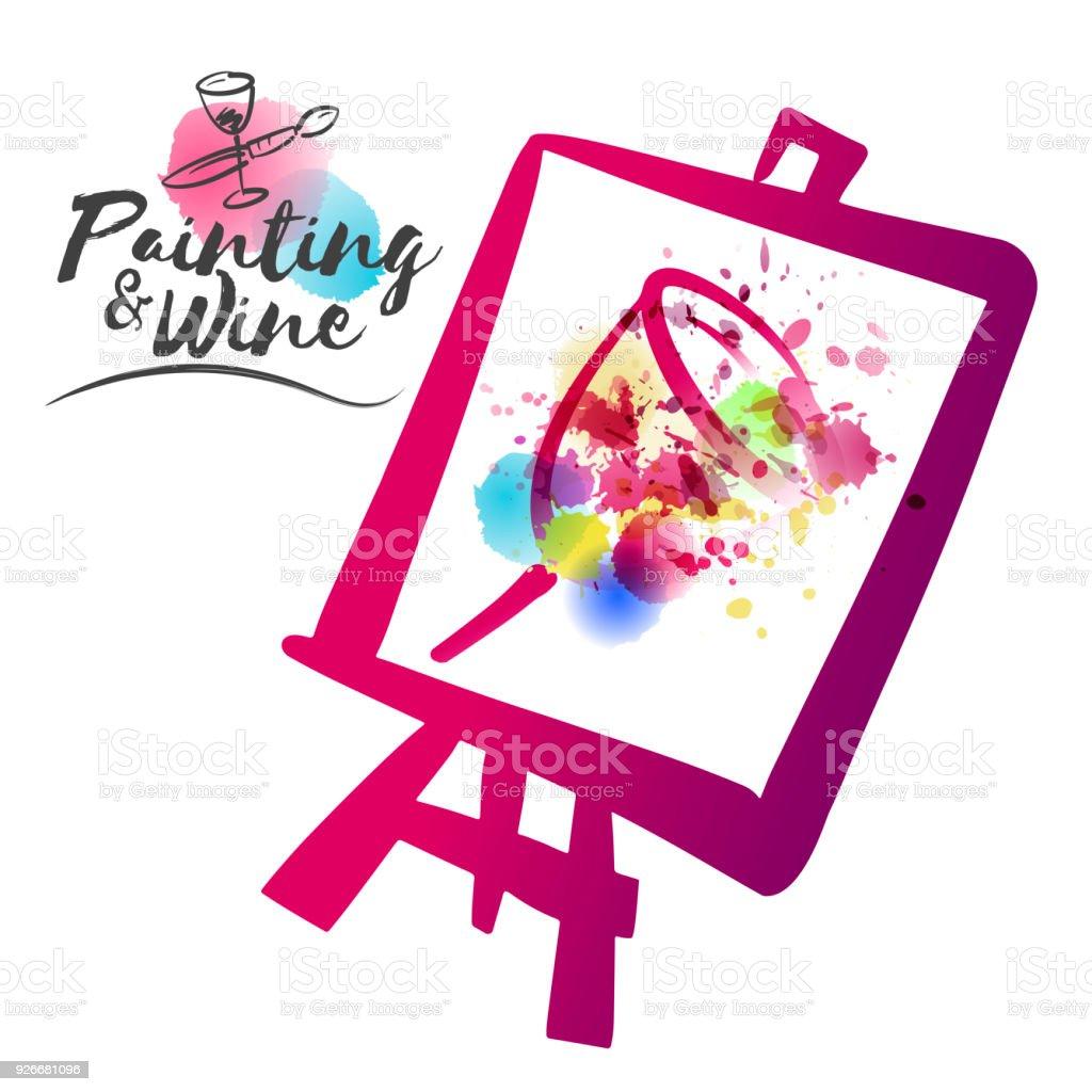 Idee Für Malerei Und Wein Gesellschaftliches Ereignis. Abbildung Des Pokals  Mit Flecken Von Aquarell Und